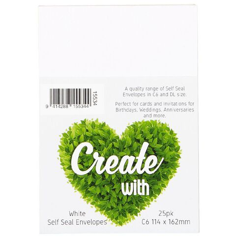 Create With C6 Envelopes 25 Pack White