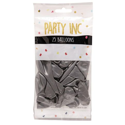 Party Inc Balloons Metallic Silver 25cm 25 Pack