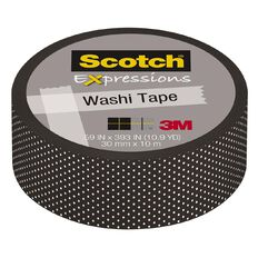 Scotch Washi Craft Tape 15mm x 10m Black Swiss Dot