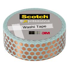 Scotch Washi Tape 15mm x 7m Foil Hexagon Copper/Mint