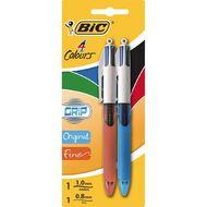 Bic 4 Colour Pen with Grip Fine or Medium Multi-Coloured 2 Pack