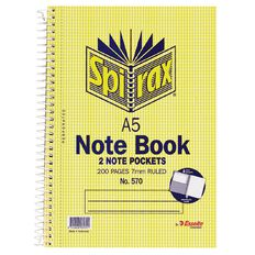 Spirax Notebook Spiral No.570 200pg 7mm Ruled Yellow A5