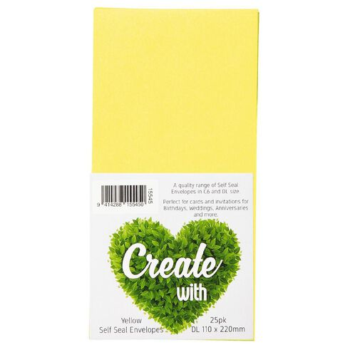 Create With DL Envelope 25 Pack Yellow