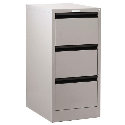 Precision Classic Filing Cabinet 3 Drawer Silver Grey Silver Grey