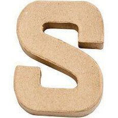 Paper Mache Alphabet Small Symbol S 10cm Brown