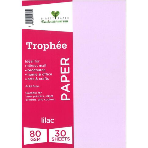 Trophee Paper 80gsm 30 Pack Lilac Purple A4