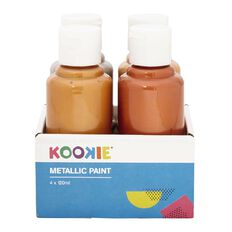 Kookie Acrylic Metallic Paint 120ml 4 Pack
