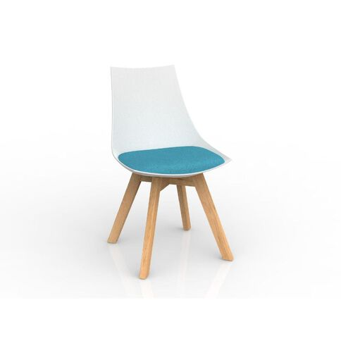 Luna Oak Base Chair White Ice Blue