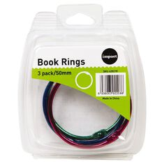 Impact Book Rings 50mm 3 Pack Colour
