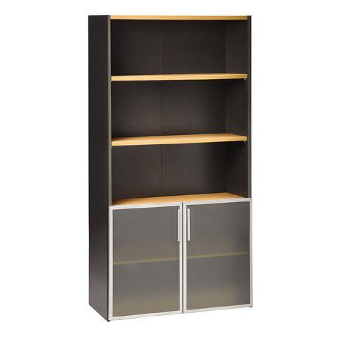 Jasper J Emerge 700 Glass Doors Storage Cupboard Beech/Ironstone
