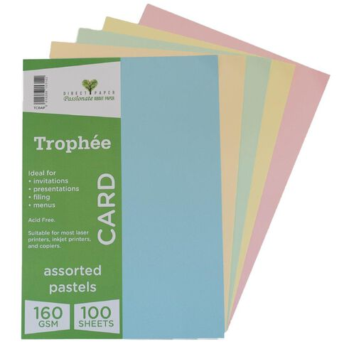 Trophee Card 160gsm 100 Pack Pastels Assorted A4