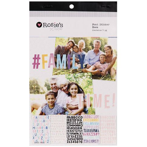 Rosie's Studio Font Sticker Book 5 Page Assorted
