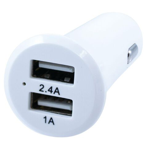 H+O Dual USB Car Charger 3.4A White
