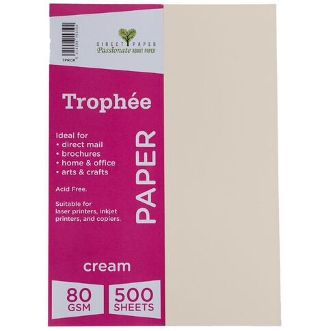 Trophee Paper 80gsm 500 Pack Cream A4
