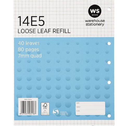 WS Pad Refill 14E5 7mm Quad 40 Leaf Punched Blue