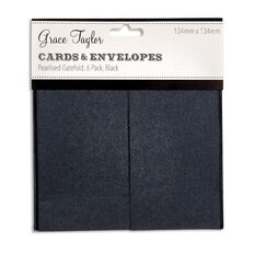 Grace Taylor Cards and Envelope Gatefold 134 x 134 6 Pack Pearl Charcoal
