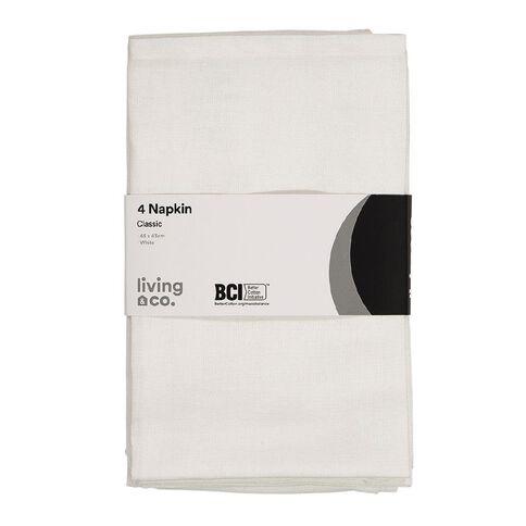 Living & Co Plain Napkin 4 Pack White 43cm x 43cm