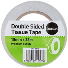 Impact Double Sided Tissue Tape 18mm x 33m Large Core Clear