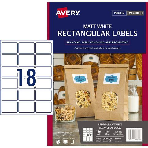 Avery Removable Rectangle Labels White 180 Labels