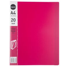 WS Clear Book 20 Leaf Pink A4