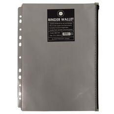 Office Supply Co Binder Zip Lock Wallets Multi Hole Spine Grey A4