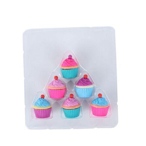 Kookie Novelty Eraser Set Scented 6 Pack Cupcakes Multi-Coloured