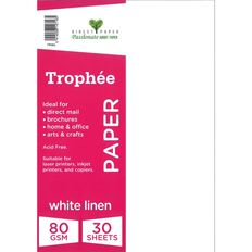 Trophee Paper 80gsm 30 Pack Linen White A4