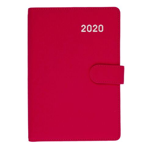 Dats Diary 2020 Day To Page PU Embossed With Clasp Assorted A5