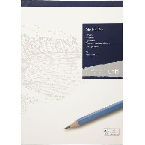 Uniti Platinum Sketch Pad 110gsm A2 60 sheets