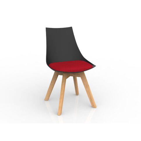 Luna Black Chilli Red Oak Base Chair Red