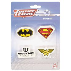 Justice League Novelty Eraser 4 Pack