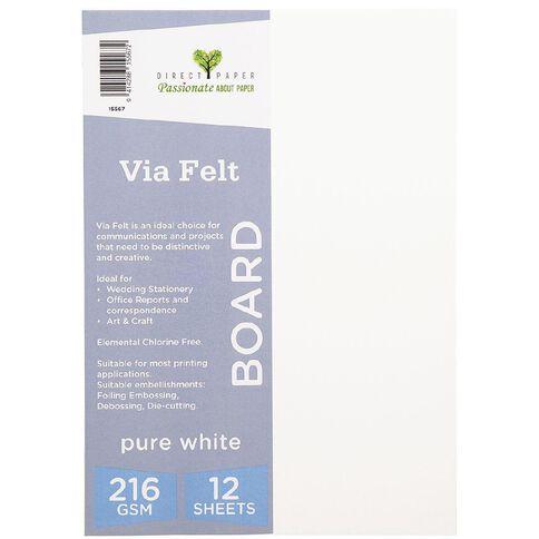 Direct Paper Via Felt 216gsm 12 Pack Pure White A4
