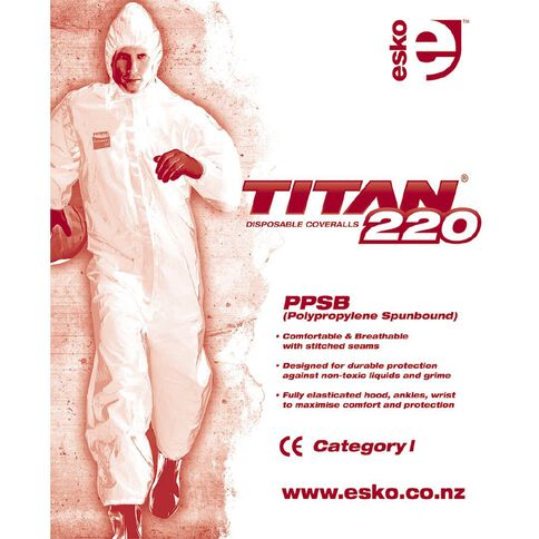 Titan 220 PPSB Disposable Polypropylene Coverall CE CAT 1 White