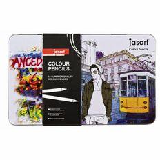 Jasart Coloured Pencil Tin 12 Piece Multi-Coloured