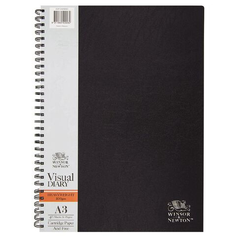 Winsor & Newton Visual Diary Heavy Spiral 200gsm A3 40 Sheets Black