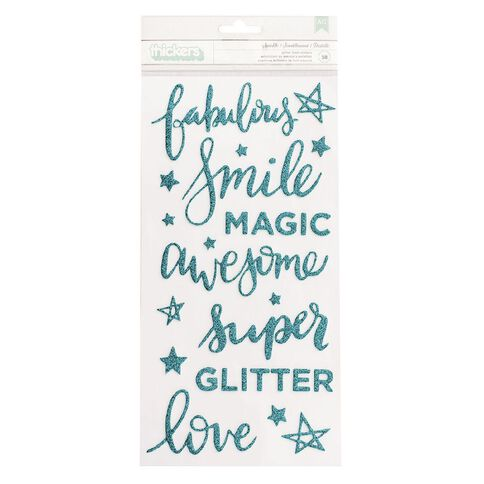 American Crafts Thickers Sparkle Teal Glitter