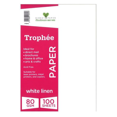 Trophee Paper 80gsm 100 Pack Linen White A4