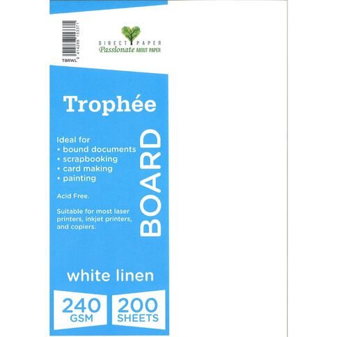 Trophee 240gsm 200 Pack Linen White A4