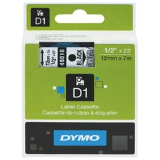 Dymo D1 Label Cassette 12mm x 7m Black On