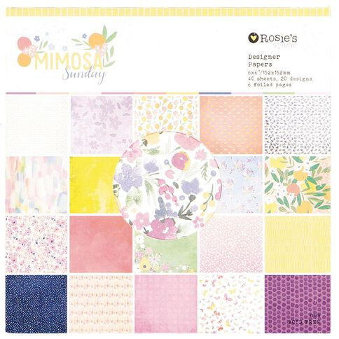 Rosie's Studio Mimosa Sunday Designer Paper Pad 40 Sheet 6x6