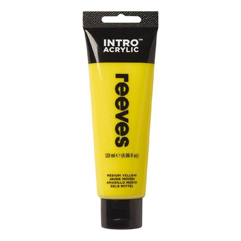 Reeves Intro Acrylic Paint Medium Yellow Yellow 120ml
