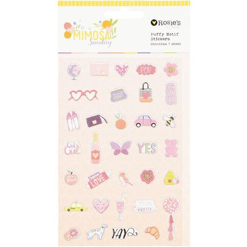 Rosie's Studio Mimosa Sunday Puffy Motif Stickers