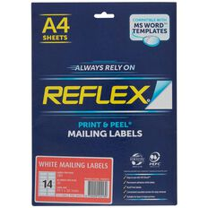 Reflex Mailing Labels 14 Per Sheet 20 Pack White A4