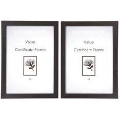 Living & Co Value Certificate Frame 2 pack Black A4