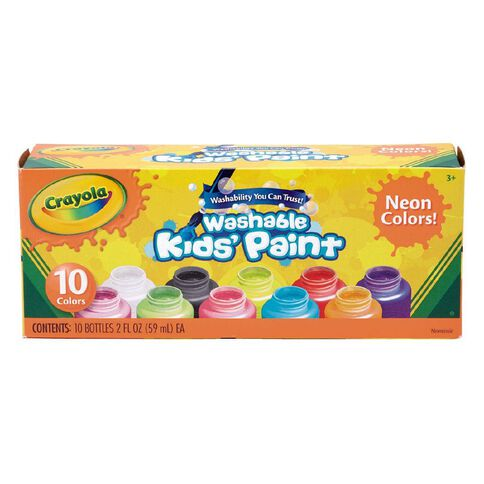 Crayola Washable Neon Kids Paint Multi-Coloured 10 Pack