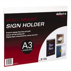 Deflecto Sign/Menu Holder Wall Mounting Landscape Clear A3