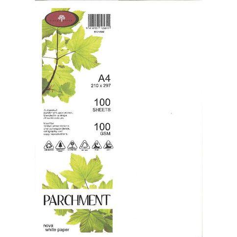 Direct Paper Parchment Paper 100gsm 100 Pack Nova White A4