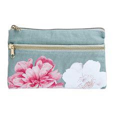 Uniti Kiwi Breeze Pencil Case Two Pocket Floral Pink
