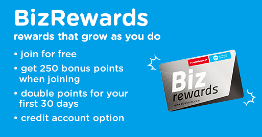 Bizrewards. Get 250 bonus points when joining. Double points for your first 30 days. Credit account option available. Learn more.