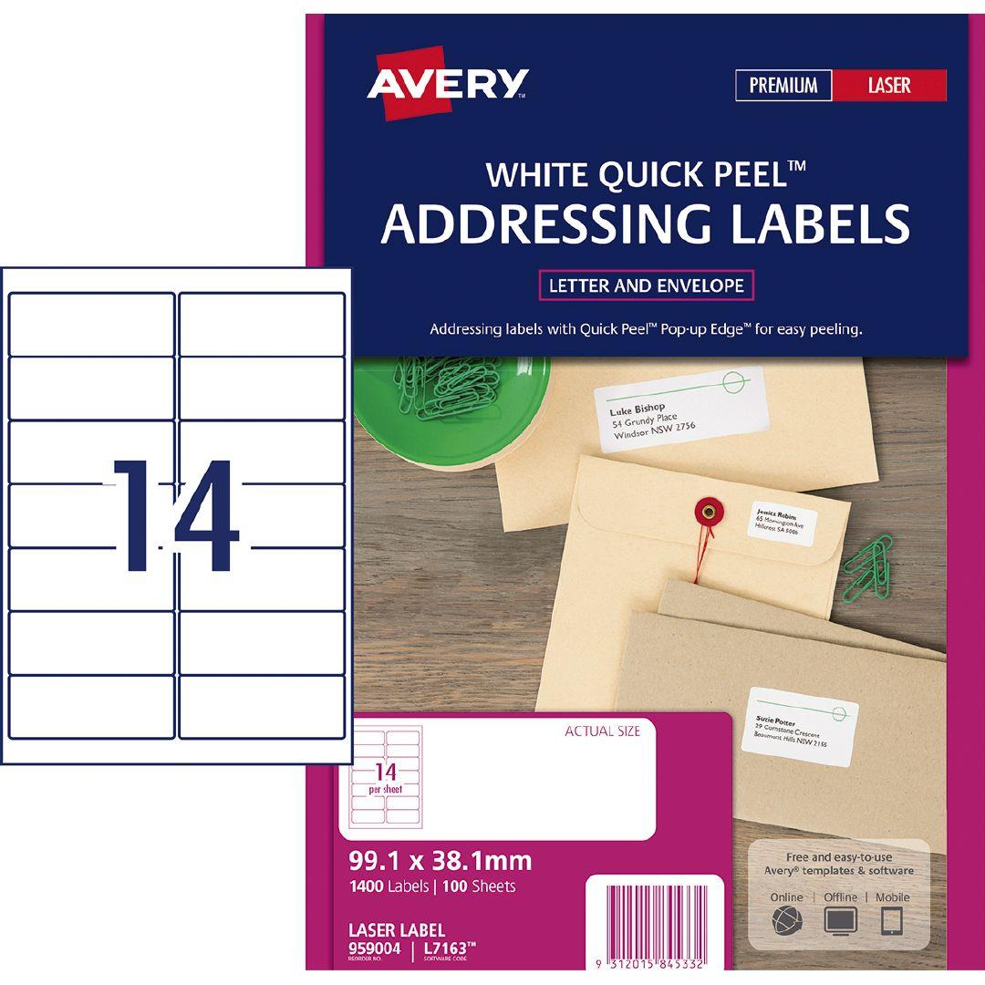 Avery Laser Quick Peel Labels L7163 14 Pack 100 Warehouse